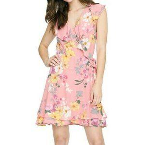 Sanctuary Johanna Wrap Dress Pink Floral Size SP